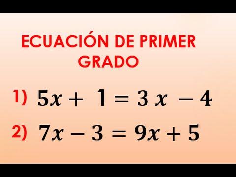 ejercicios ecuaciones de 1er grado