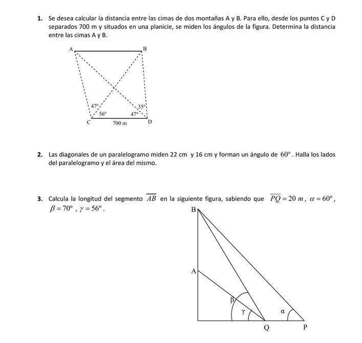 Resolver ejercicios de trigonometría