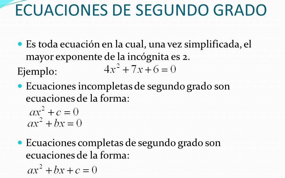 ejercicios de ecuaciones de segundo grado formula general