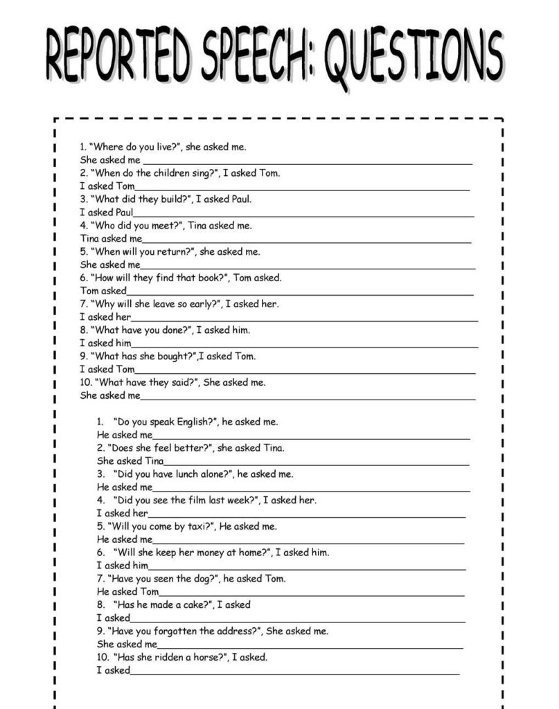 ejercicios de reported speech and questions