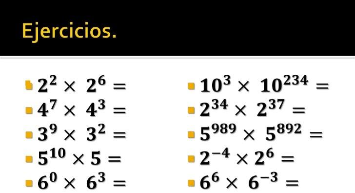 ejercicios de potencias en matematicas