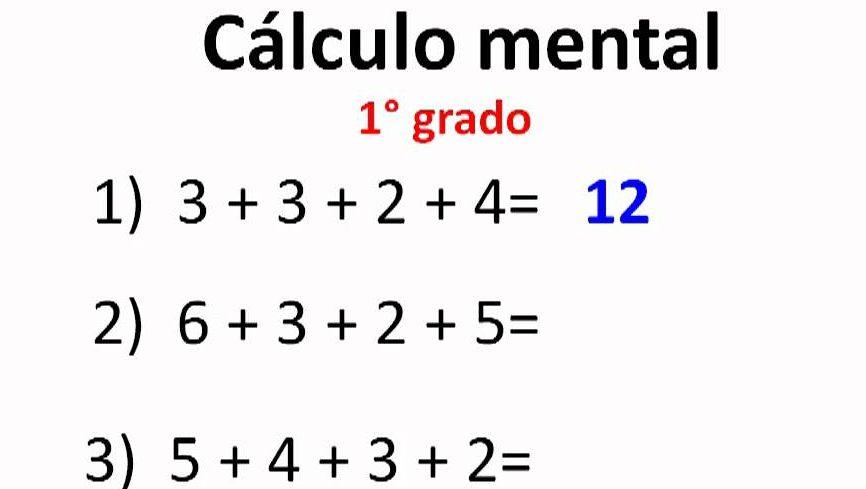 calculo mental ejercicios para primaria