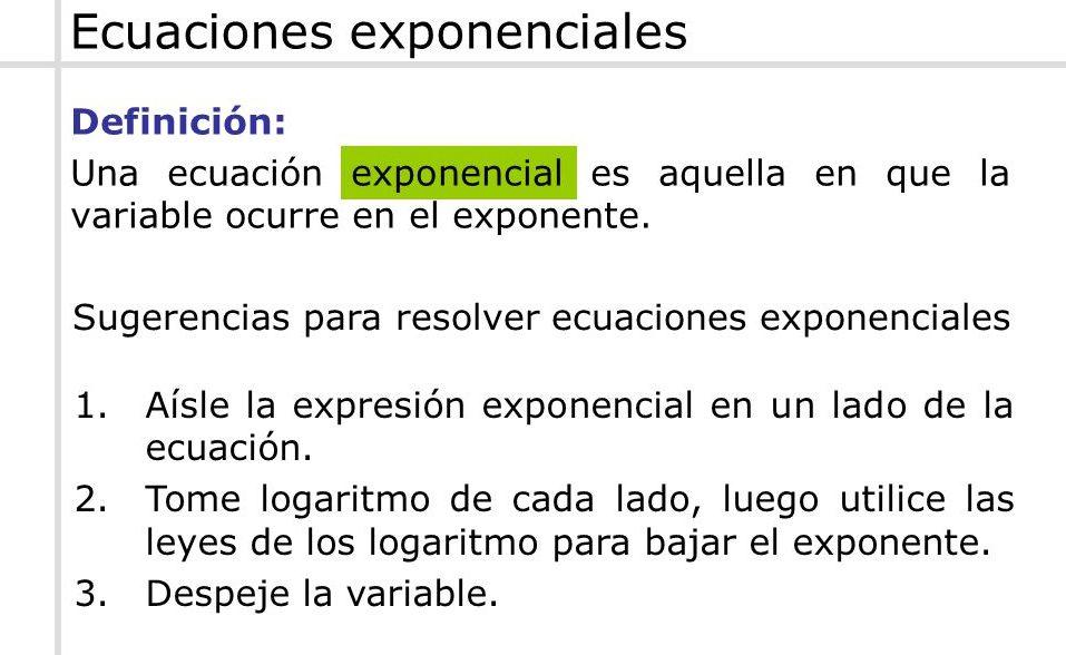 ejercicios de ecuaciones exponenciales algebra