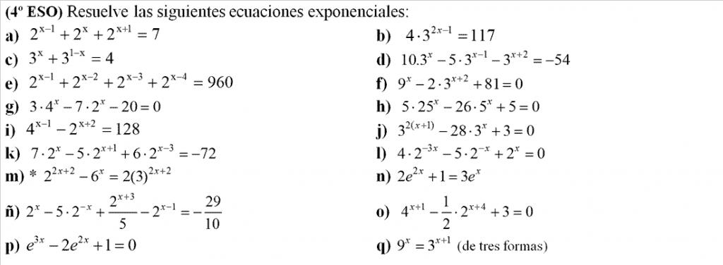 guia de ejercicios de ecuaciones exponenciales