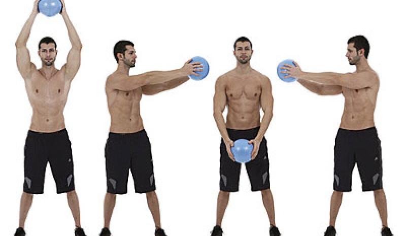 rutina de ejercicios con balon medicinal