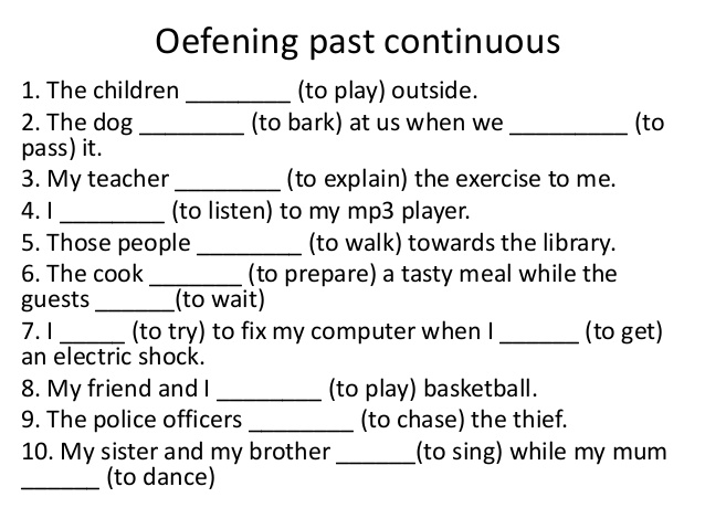 exercises the past continuous