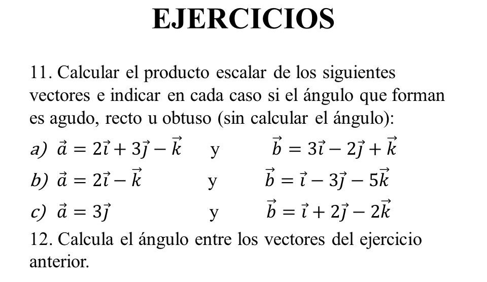 ejercicios de vectores para hacer
