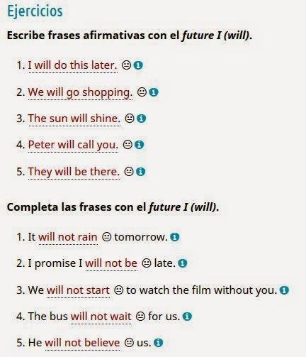 ejercicios para aprender futuro en ingles
