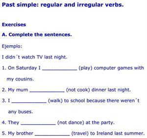ejercicios con verbos irregulares