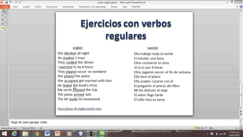 ejercicios para aprender verbos irregulares en ingles