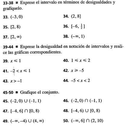 ejercicios de intervalos matemáticas