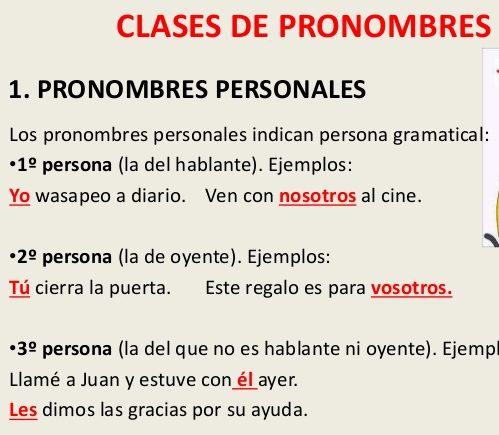 ejercicios de los tipos de pronombres