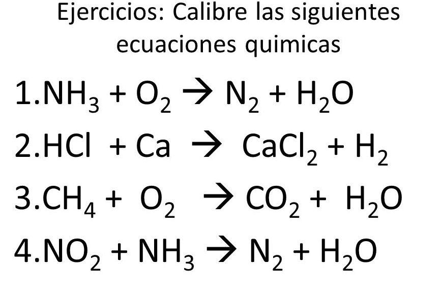reacciones quimicas para balancear ejercicios