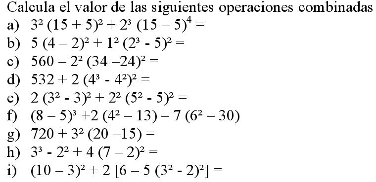 operaciones combinadas algebraicas ejercicios