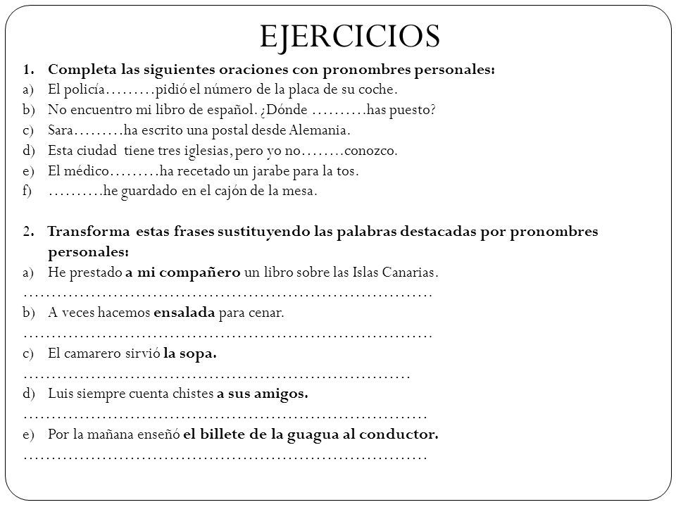ejercicios de pronombres combinados