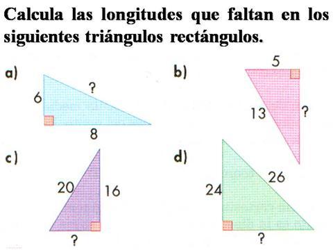 ejercicios teorema de pitágoras para resolver
