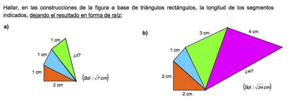 ejercicios teorema de pitágoras-resolver